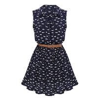 TFGS 2016 New Design Design Summer New Women Shirts Dress Cat Footprints Pattern Show Thin Shirt