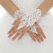 Горячая пальцев Длина запястья белая аппликация из кружева свадебные перчатки luva de noiva