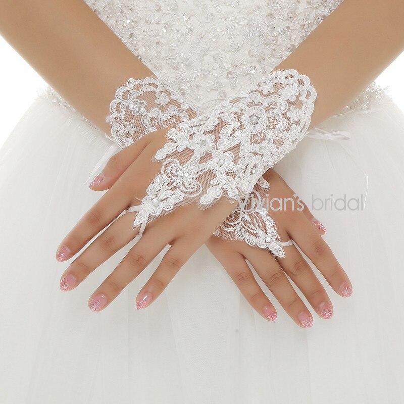 Heißer Verkauf Finger Handgelenk Länge Spitze Appliques Weiß Braut Hochzeit Handschuhe Freies Verschiffen Luva De Noiva KöStlich Im Geschmack Hochzeit Zubehör Weddings & Events