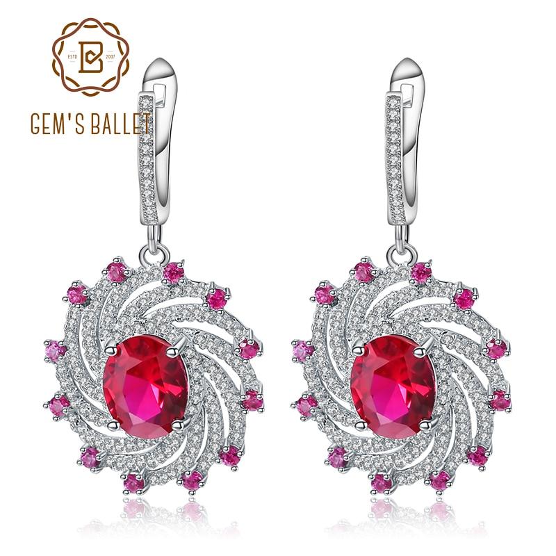 Gem s Ballet Huge Luxury Created Ruby Dangle Earrings Solid 925 Sterling Silver Earrings New For
