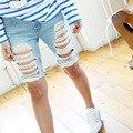 Shorts Women 2016 New Fashion Hole Knee Length Jeans Capris Ladies Vintage Loose Harem Pants Femme Denim Trousers Plus Size