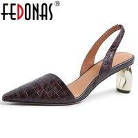 FEDONAS Elegant Women High Heels Spring Summer Genuine Leather Shoes Woman Pointed Toe Office Pumps Ladies Sandals Pumps