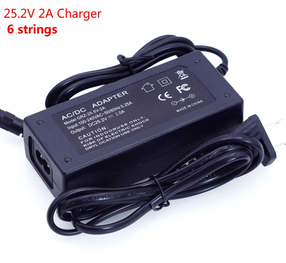 LiitoKala 24 V Charger 25.2v 2A 6 Strings 18650 Lithium Battery Charger DC 5.5 * 2.1 MM Polymer Battery Charger