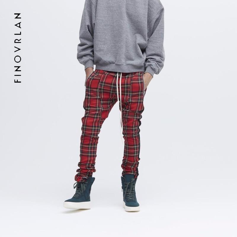 2018 New FOG Mens Sportswear Pants Side Stripe lattice zipper Jogger Pants Elastic Waist Vintage Casual High Street Pants