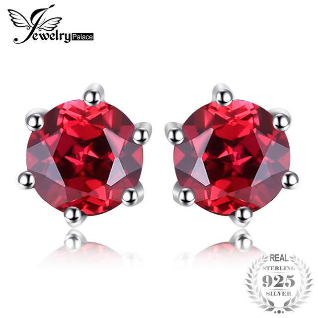JewelryPalace VVS Red Round Gemstone Jewelry Natural Garnet Earrings Stud Genuin