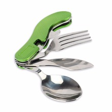4 in 1 Portable MultiFunction Durable Stainless Steel Folding Spoon Fork Knife Bottle Opener Outdoor Camping Picnic Tableware  стоимость