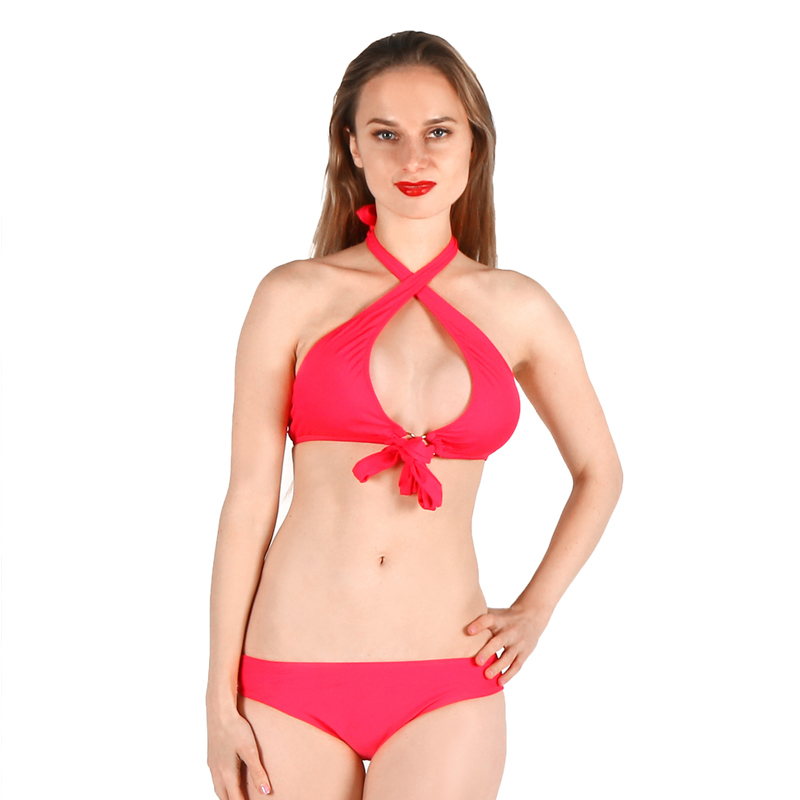 MAMAMIA bikini set two piece strapless knot halter swimwear women swimsuit bathingsuit flash push-up padded bra slim monokini