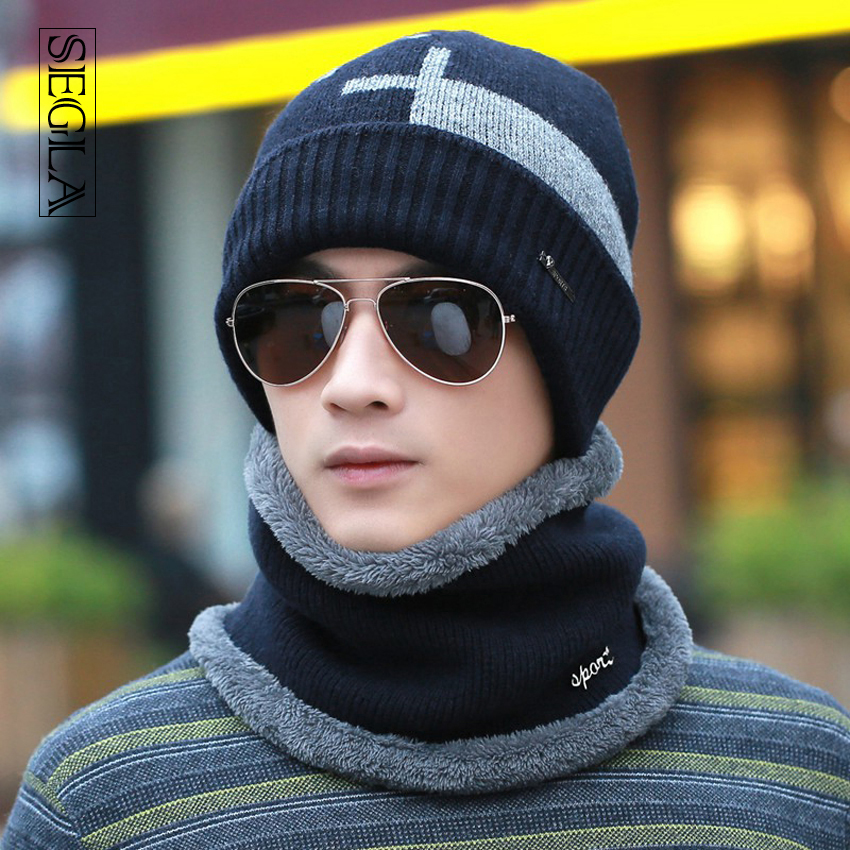 SEGLA Men Hat Scarf Sets Two Pieces Set Wool Knitted Beanies Winter Warm Plush Wrap Muffler Scarves Snow Ski Caps Earflaps Baggy