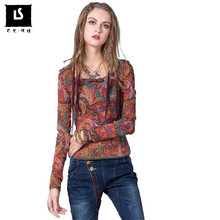 Women T-Shirts 2018 Spring Autumn Women Patchwork Printing Pipa Button Slim Vintage T-Shirt Casual Long Sleeve Femme Tees Tops(China)