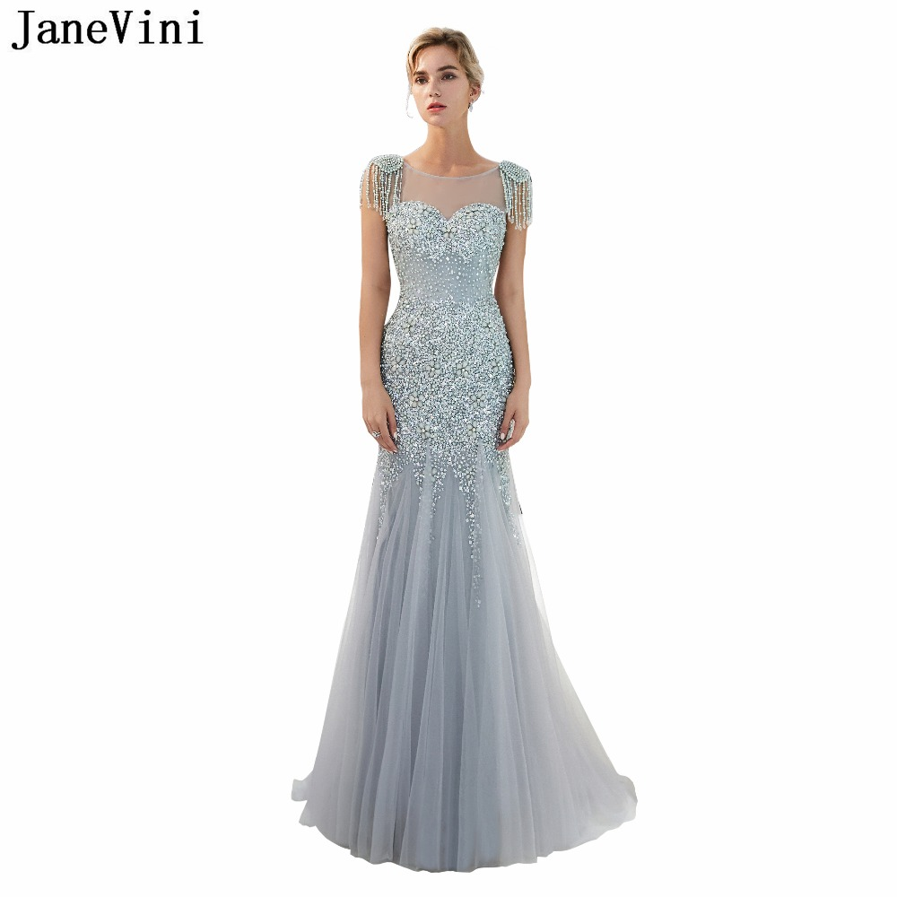 JaneVini 2018 Charming Silver Gray Tulle Long   Bridesmaid     Dresses   Luxurious Beading Illusion Back Women Mermaid Formal Prom Gowns