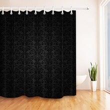 LB czarny adamaszku barokowy zasłona prysznicowa łazienka luksusowy Vintage Art abstrakcja kwiatowa wodoodporna tkanina poliestrowa do wanny wystrój