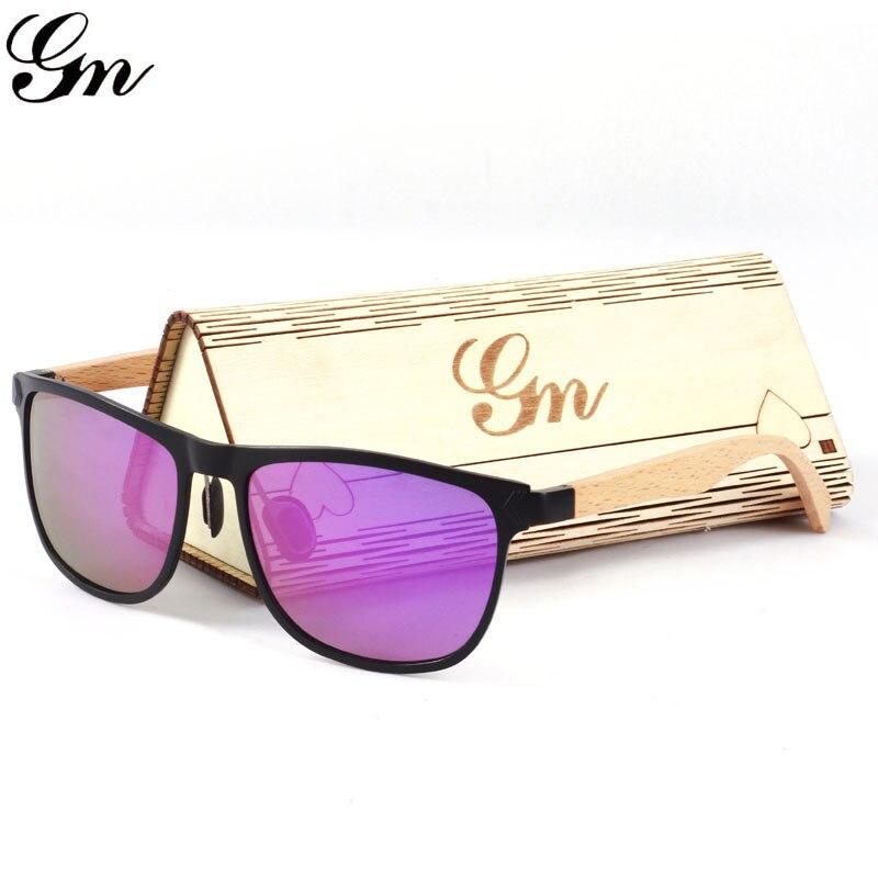 G M Фирменная Новинка Стиль Алюминий Модные поляризованные древесины бамбука Солнцезащитные очки для женщин.