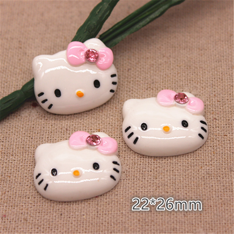 10pcs 22*26mm Kawaii Resin Pink Stone Bow Cat Flatback Cabochon For Kids Clip DIY Hair Clip Accessories