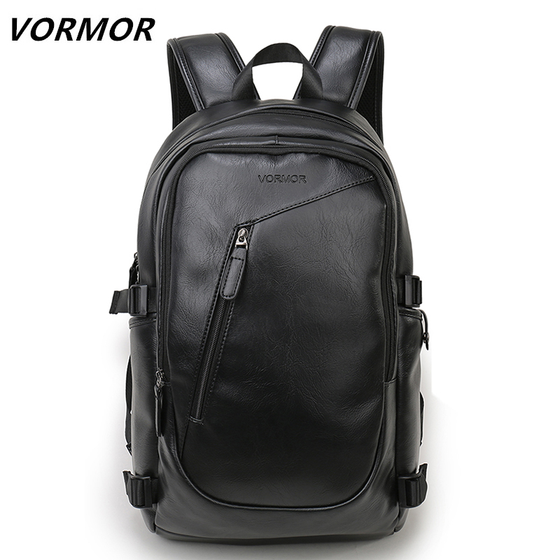 Vormor Brand Waterproof 15.6 Inch Laptop Backpack Men Leather Backpacks For Teenager Men Casual Daypacks Mochila Male