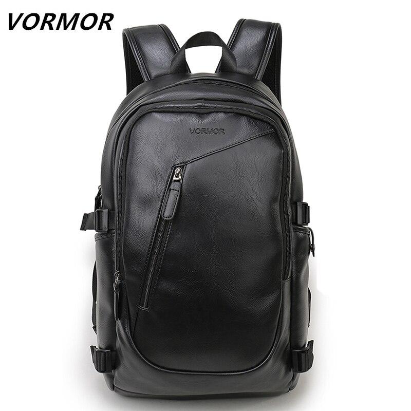 2018 VORMOR marca impermeable 15,6 pulgadas ordenador portátil de mochila de cuero de los hombres de mochilas para Adolescente casuales de los hombres plástico mochila hombre