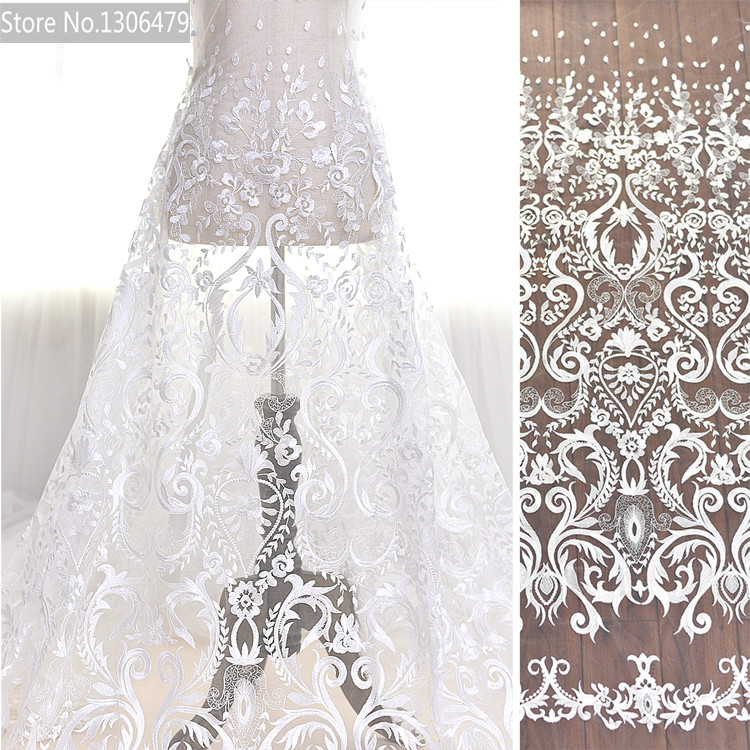 European palace full wedding dress embroidered white lace for White lace fabric for wedding dresses