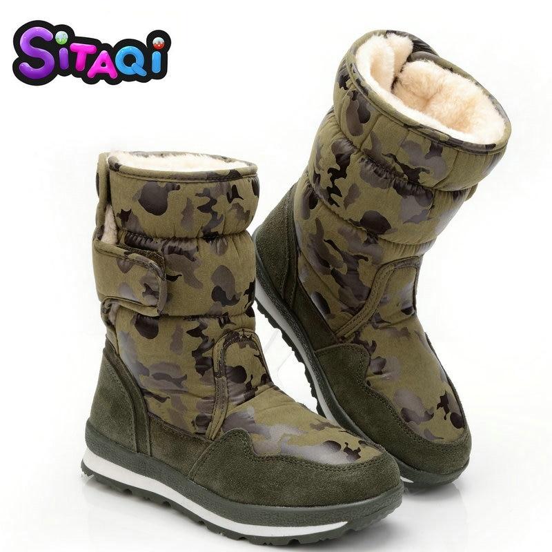 Обувь для мальчиков; Зимняя парка камуфляжной расцветки в стиле полного размера плюс 27 до 41 ботинки для снежной погоды противоскользящие подошвы детское теплое плотное платье Бесплатная доставка меха