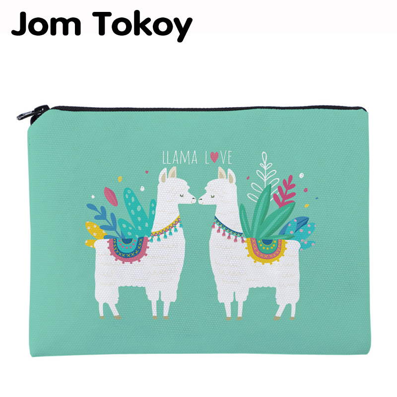 Jom Tokoy Printing LLama Love Necessaries For Travelling Organizer Makeup Bag Women Letter Square Cosmetic Bag With Zipper