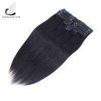 SHENLONG HAIR Brazilian Remy Hair Clips In Extensions 100 Gram 100 Human 1B Color Full Head