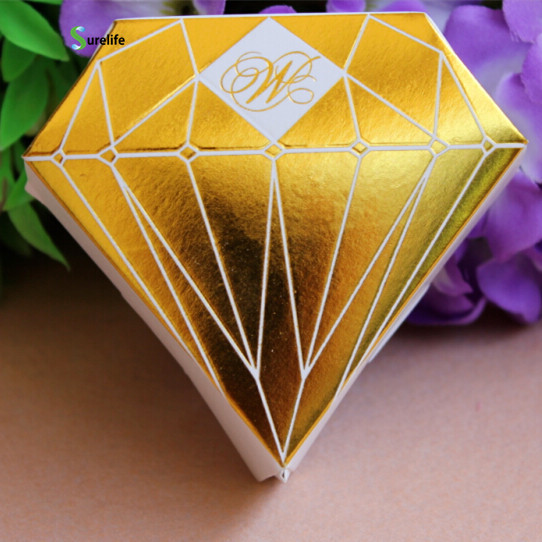 50pcs Diamond Candy Box Chocolate Box Wedding Party Paper Diamond Box Wedding Favor Shower Gold Silver