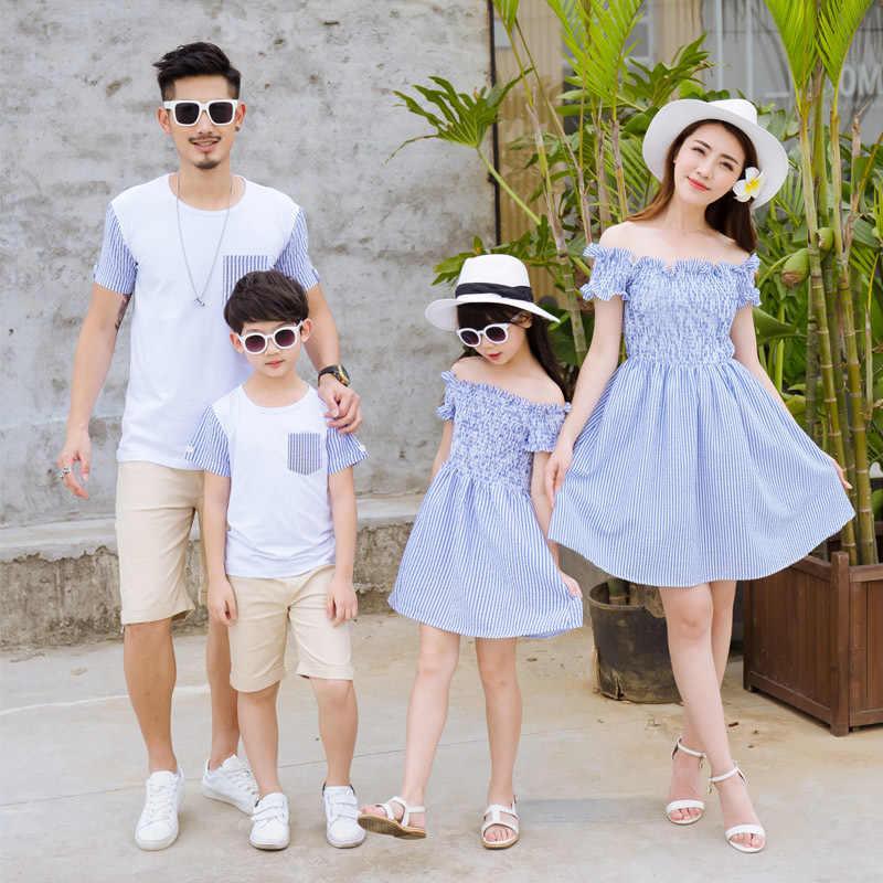 36c75fcf6e87 Платья для мамы и дочки папы и сына летние футболки папы и сына Одинаковая  одежда платье