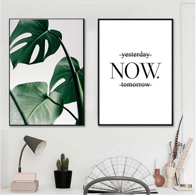 Black Framed Slogan Green Leaves Wall Art Set Canvas Palm Tree Printing For Home