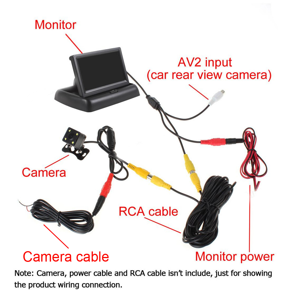 Image 5 - Hikity 4.3 אינץ מתקפל רכב צג TFT LCD תצוגת מצלמות הפוכה מצלמה חניה מערכת לרכב Rearview מוניטורים/מצלמהצגים לרכב   -