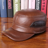 Autumn and winter men cowhide snapback flat duck warm high quality leather hat fashion soft ear cap adjusted military hats