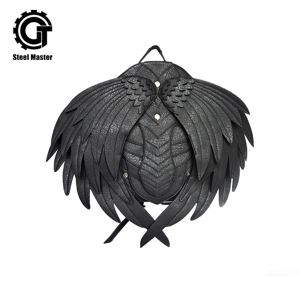 Punk Men Detachable Wings Leather Backpacks Gothic Retro Women Backpacks With Zipper Men Black Ghost Monster Vampire BackpacksPunk Men Detachable Wings Leather Backpacks Gothic Retro Women Backpacks With Zipper Men Black Ghost Monster Vampire Backpacks