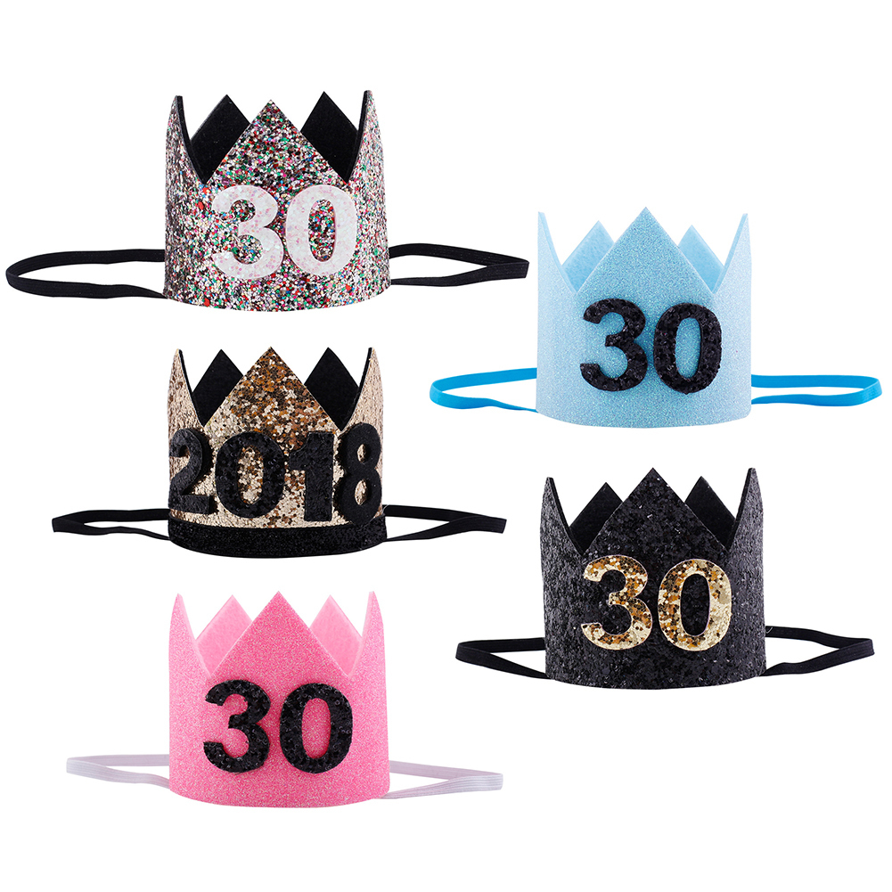 2018 30th Birthday Hat Gold Black Pink Princess Crown Number Party