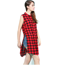 Women Red black Plaid Turn down Collar sleeveless summer Shirt Blouse Split Casual fashion top quality