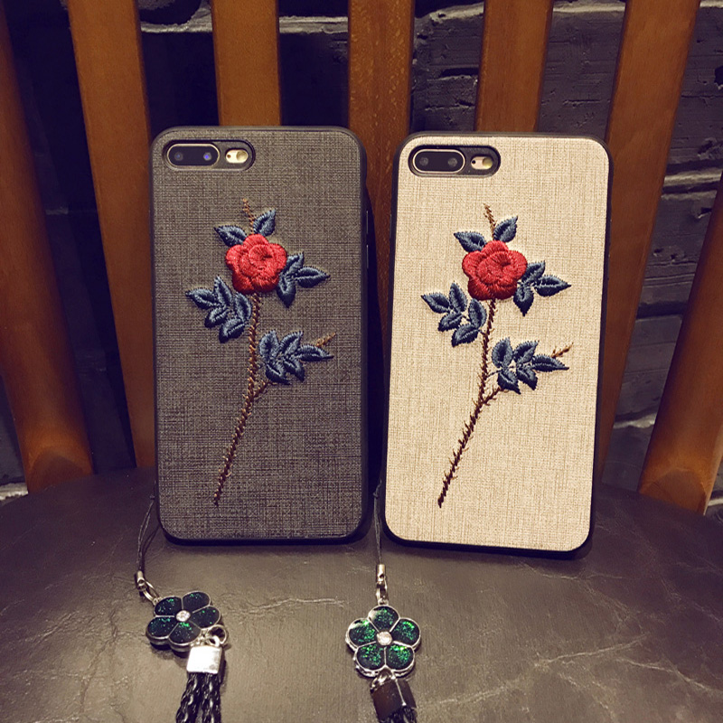 2pcs fashion embroidery case For iphone 7 plus phone shell case iPhone7plus cover cute flower For iPhone 7plus case back cover