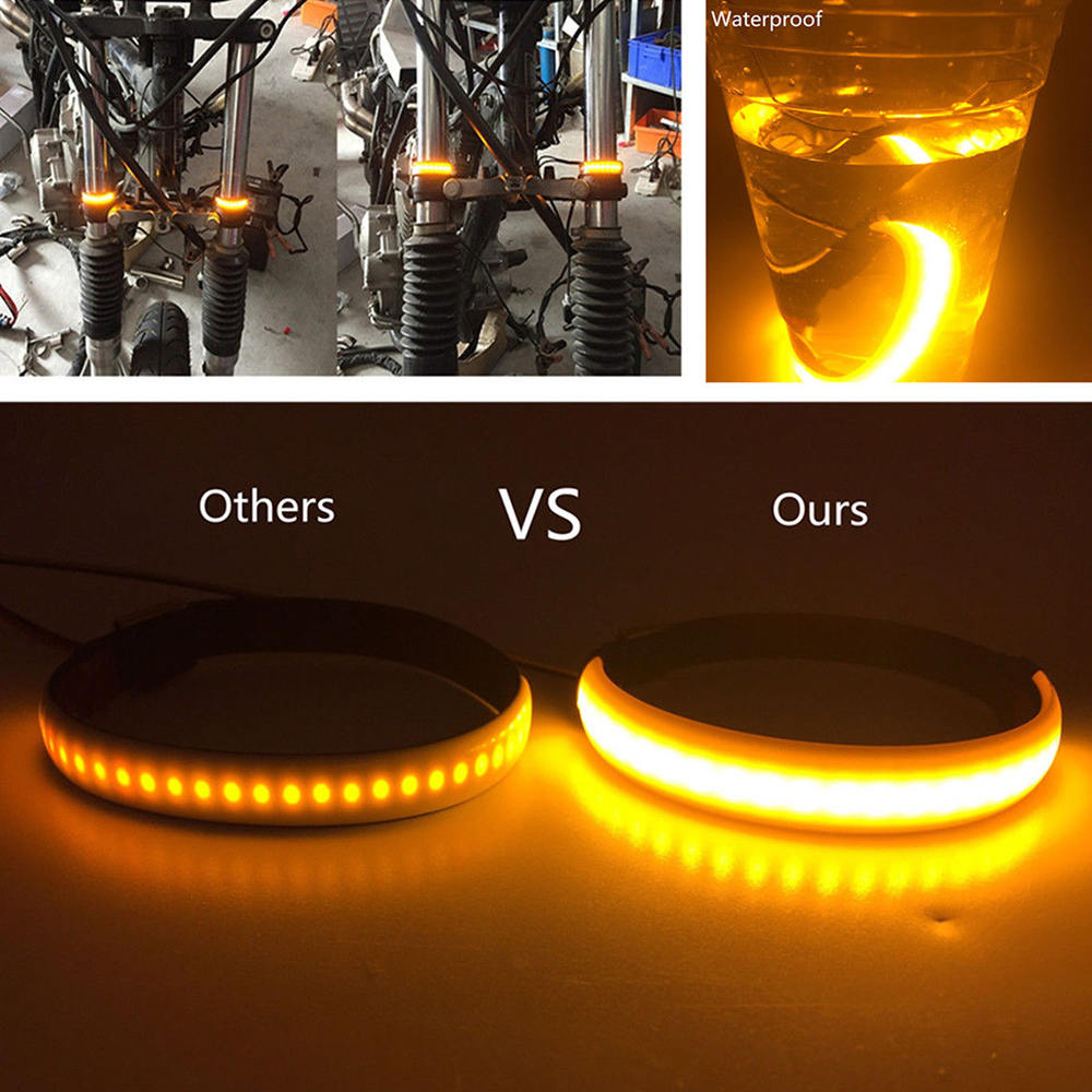 1 Pair SMD LED Strip <font><b>Bike</b></font> Motorcycle Car Fork Turn Signal Indicator <font><b>Light</b></font> <font><b>Blink</b></font> Motorcycle Front Shock Led Strip image