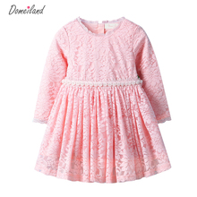 2017 Fashion spring Brand DOMEI LAND Children Clothes cute girl cotton pink lace Floral dress Princess dress Kid Party clothing
