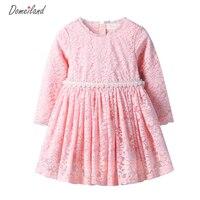 2016 Fashion Brand DOMEI LAND Children Clothes Cute Girl Cotton Pink Lace Floral Dress Princess Dress