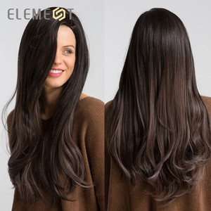 Image 5 - Element Long Synthetic Natural Wave Wig With Side Fringe Natural Headline Glueless Ombre Hair Replacement Party Wigs for Women