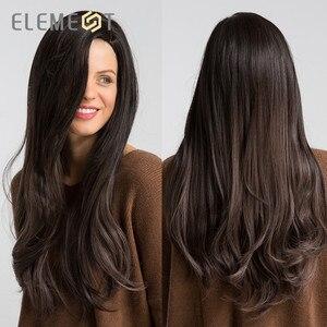 Image 5 - אלמנט ארוך סינטטי טבעי גל פאה עם שוליים צד כותרת טבעית Glueless Ombre שיער החלפת מסיבת פאות עבור נשים
