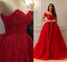 Red Luxury Lace Arabic Evening Dresses Sweetheart Beaded Ball Gown Prom Vintage robe de soiree abiye evening dress 2019