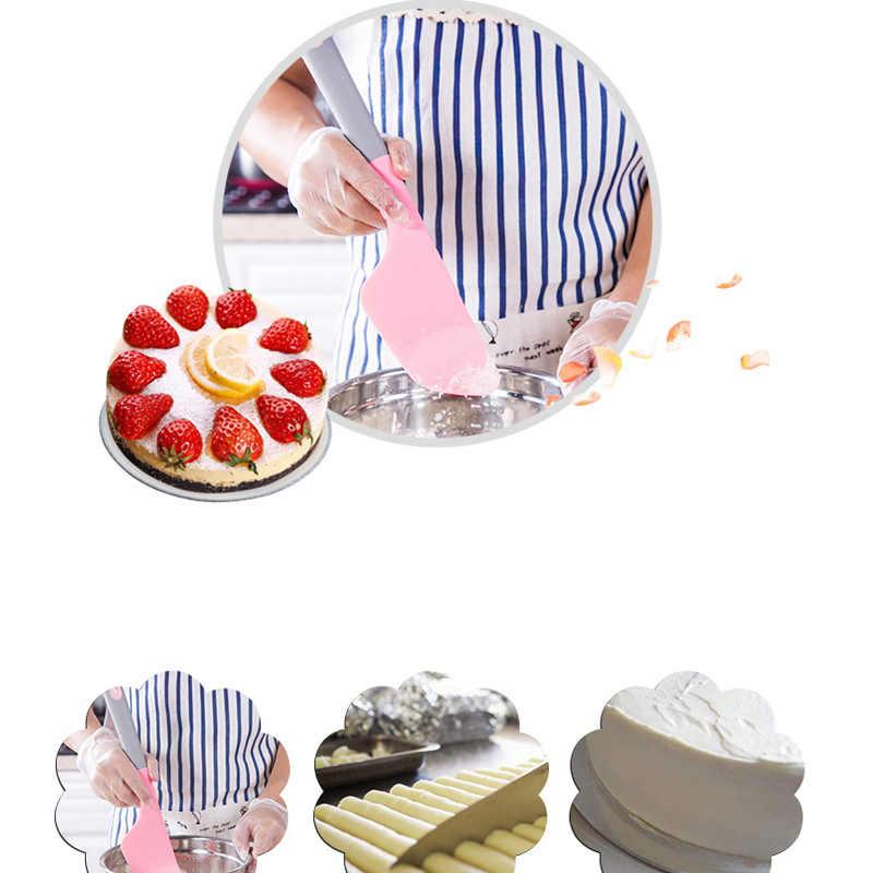 RSCHEF herramientas para hornear raspador de torta grande rosa de grado alimenticio cuchillo de frotar de silicona
