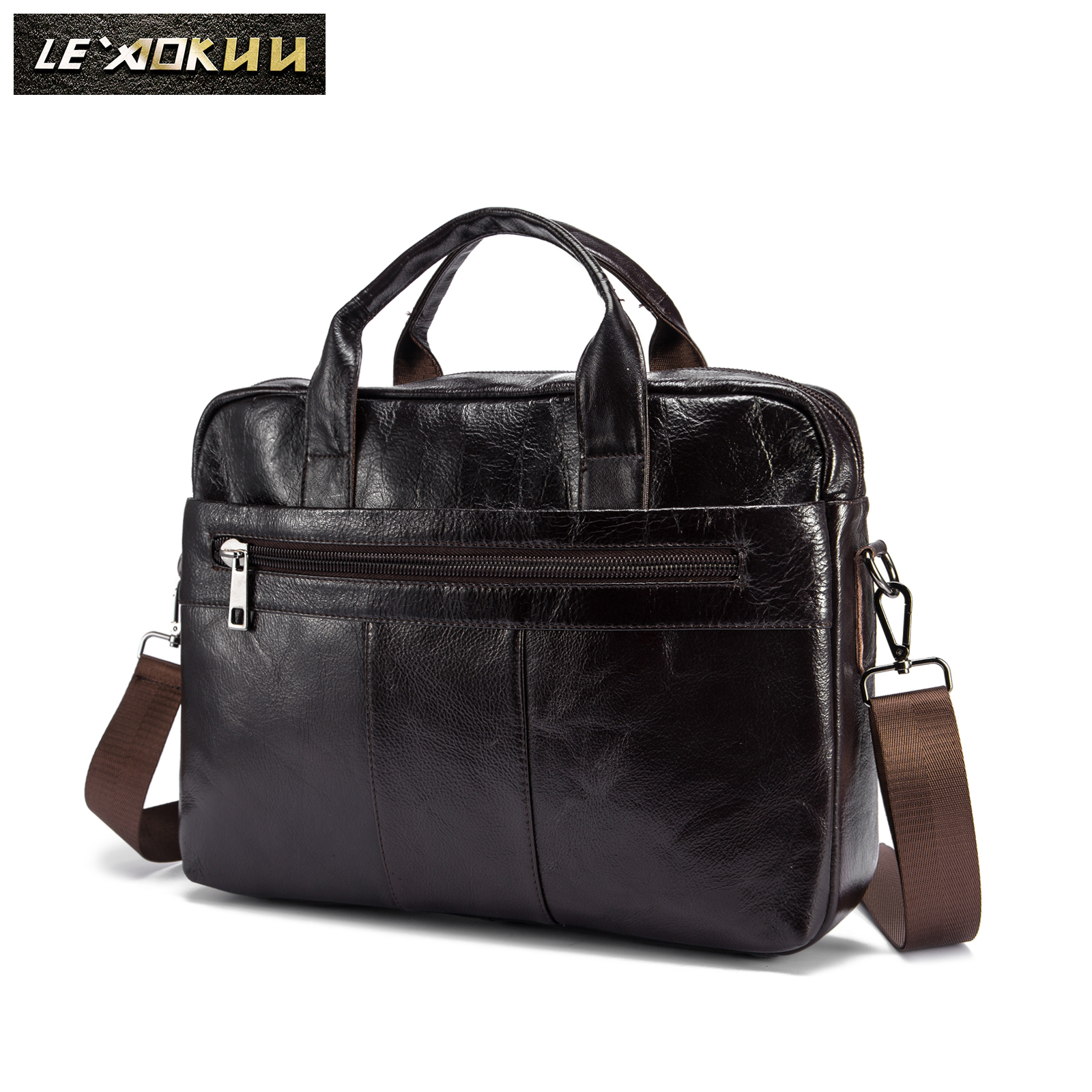 Oil Waxy Leather Coffee Design Business Briefcase 15