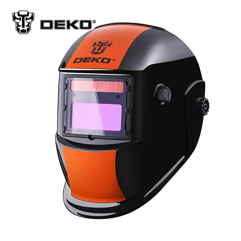все цены на DEKOPRO Orange S Solar Auto Darkening  MIG MMA Electric Welding Mask/Helmet/Welding Lens for Welding Machine or Plasma Cutter онлайн
