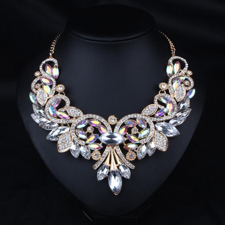 2016 Luxury Brand AB Shine Crystal Flower Necklace...