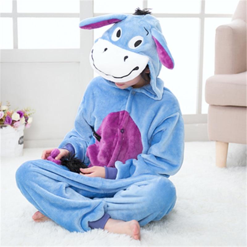 193baf31f Cheap Girls Blue Donkey Kigurumi Animal Onesie Flannel Boys Pajamas ...