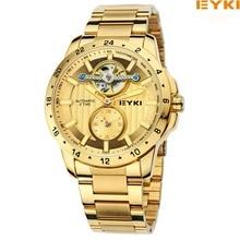 Eyki Marke Metall Hohl Schwungrad Mechanische Uhren Mode Feinen Luxus Edelstahl Armband Männer athletische Uhren Schmuck