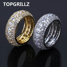 TOPGRILLZ Hip Hop Mens Iced Out Cubic Zircon Bling Round 10mm Ring Gold Silver Color CZ Jewelry Rings Gifts