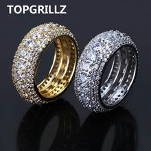 TOPGRILLZ Hip Hop ผู้ชาย Iced Out Cubic Zircon Bling รอบ 10 มม.แหวน(China)