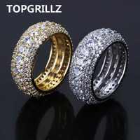TOPGRILLZ Hip Hop männer Iced Out Cubic Zirkon Bling Runde 10mm Ring Gold Silber Farbe CZ Schmuck Ringe geschenke