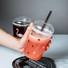 Creative Stars Heat-Resistant Glass Cup with Straw Large Capacity Pearl Nai Cha Bei Juice Lid