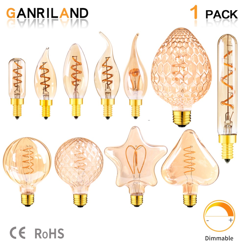 GANRILAND E14 E27 Led Lamp 110V-240V Dimmable Led Filament Light Bulb Ultra Warm 2200K Gold Edison Spiral Bulbs Ampoule Led E27