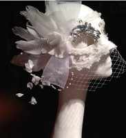 Özelleştirmek Maske Masquerade İtalyan Beyaz Tüy Maske Dantel Peçe Bling Kristal Prenses Kadın Noel Cadılar Bayramı Partisi Maskesi